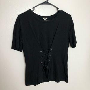Garage Black Lace Up Corset Short Sleeve